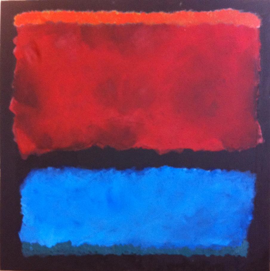N°106 - Rouge et bleu ... à la manière de Rothko - Acrylique sur toile - 100 x 100 cm - 18 janvier 2013