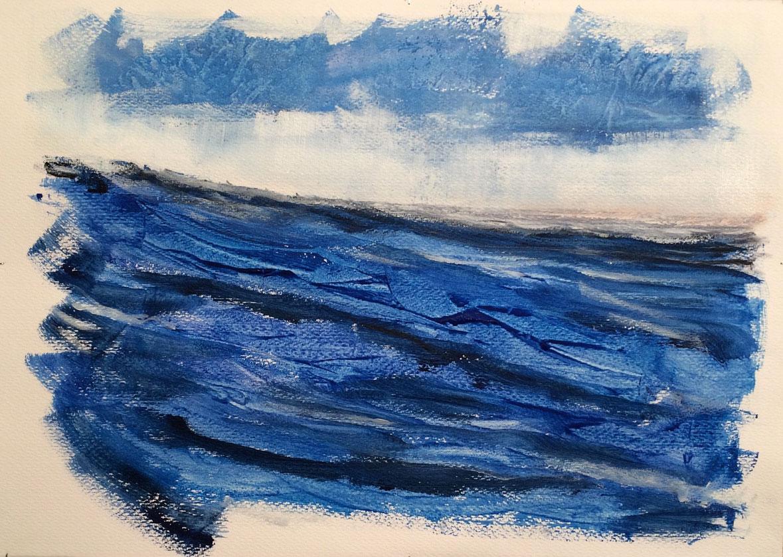 N°2257 - Respiration marine 2 - Acrylique sur papier - 50 x 70 cm - 31 mars 2016