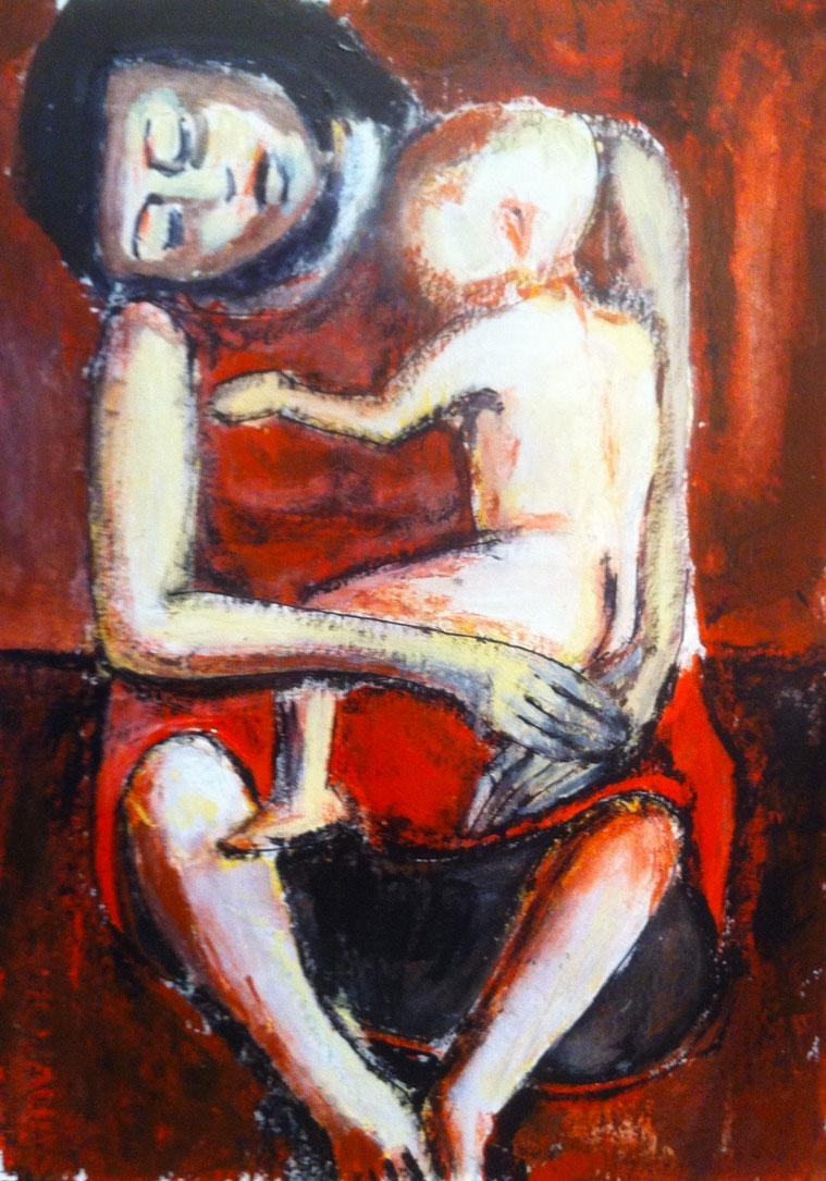 N°1105 - Maternité - Acrylique sur papier - 36 x 26 cm - 30 janvier 2014