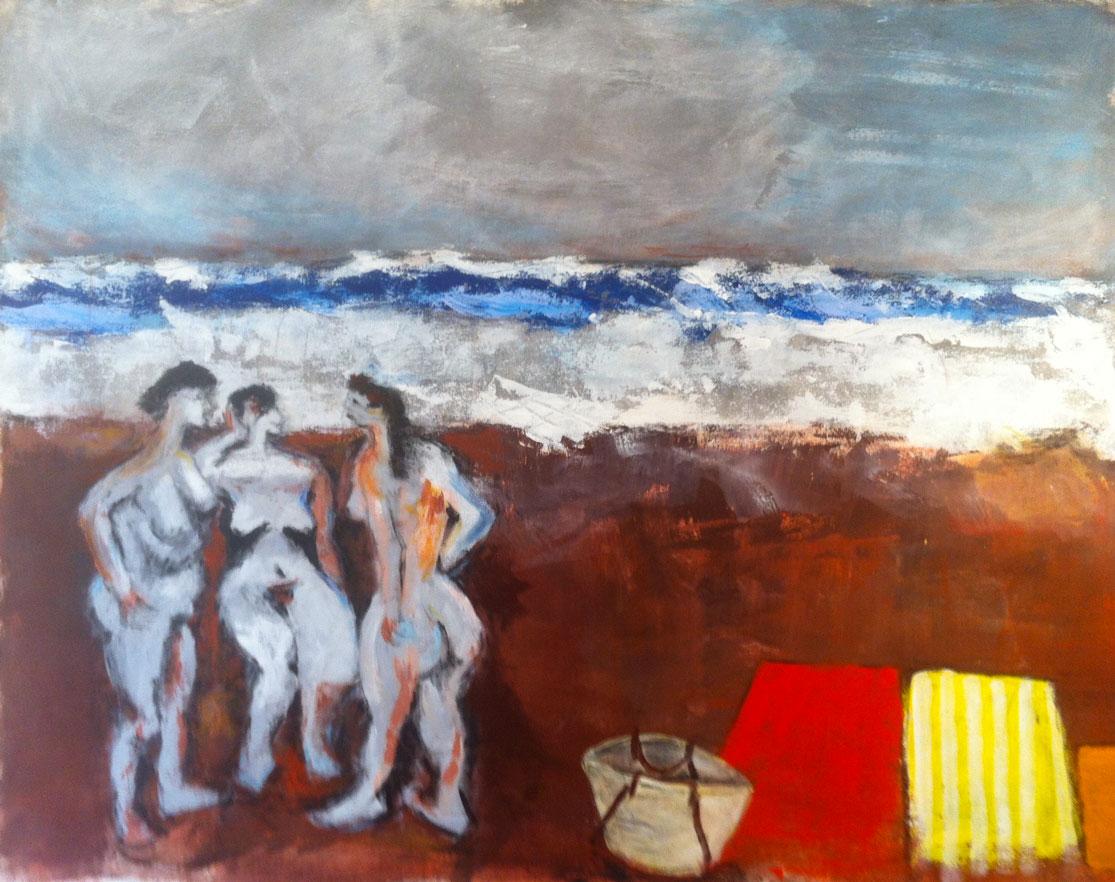 N° 483 - Trois baigneuses à la mer agitée - Acrylique sur toile -114 x 146 cm - 16 juin 2014