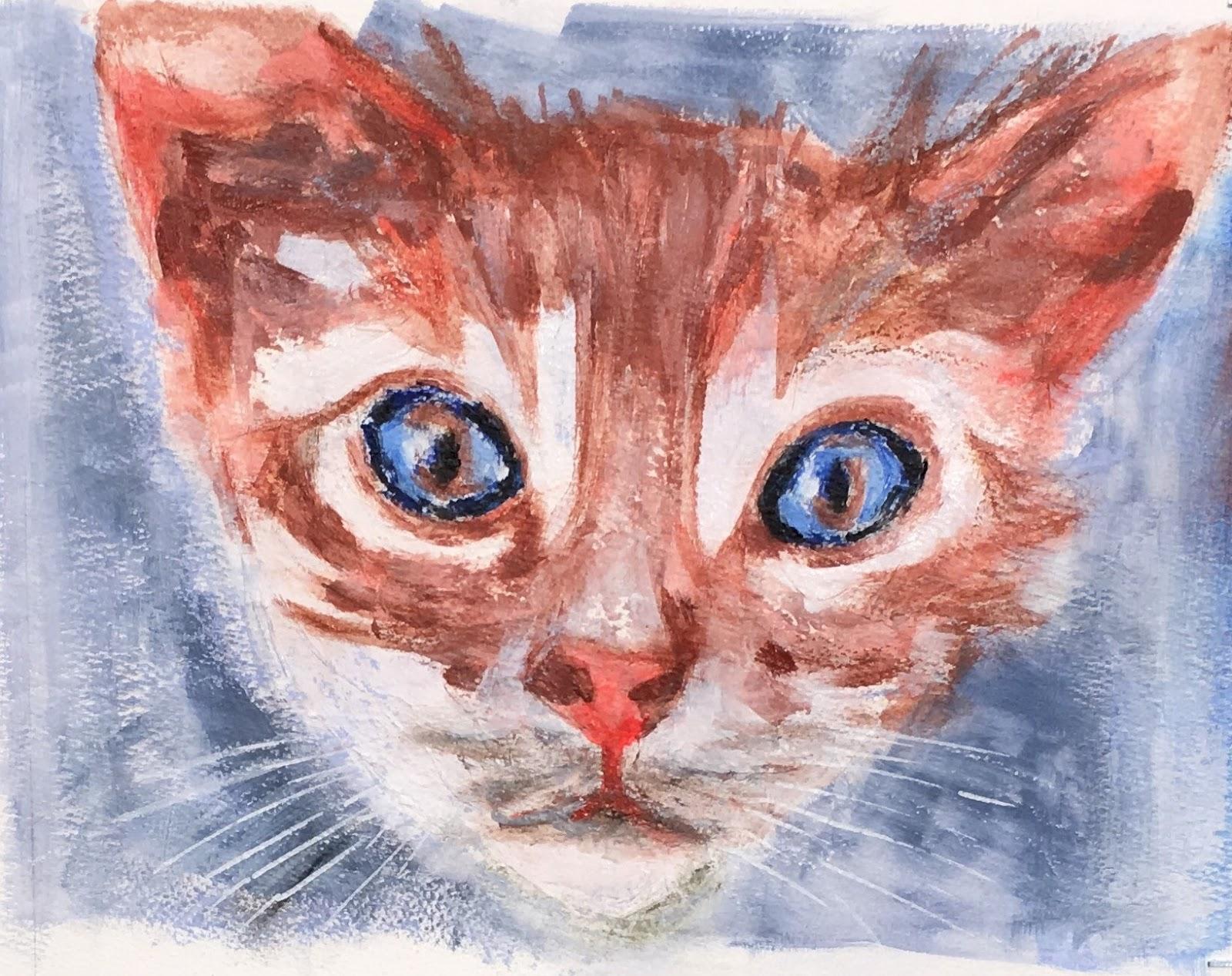 N°3409 - Rourou - Acrylique et pastel sur papier - 28 x 35 cm - 5 septembre 2017