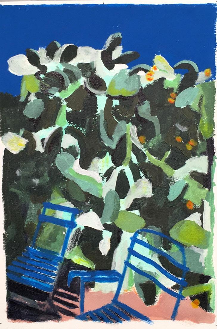N°3418 - Le jardin de Claire - Acrylique sur papier - 37 x 28 cm - 7 septembre 2017