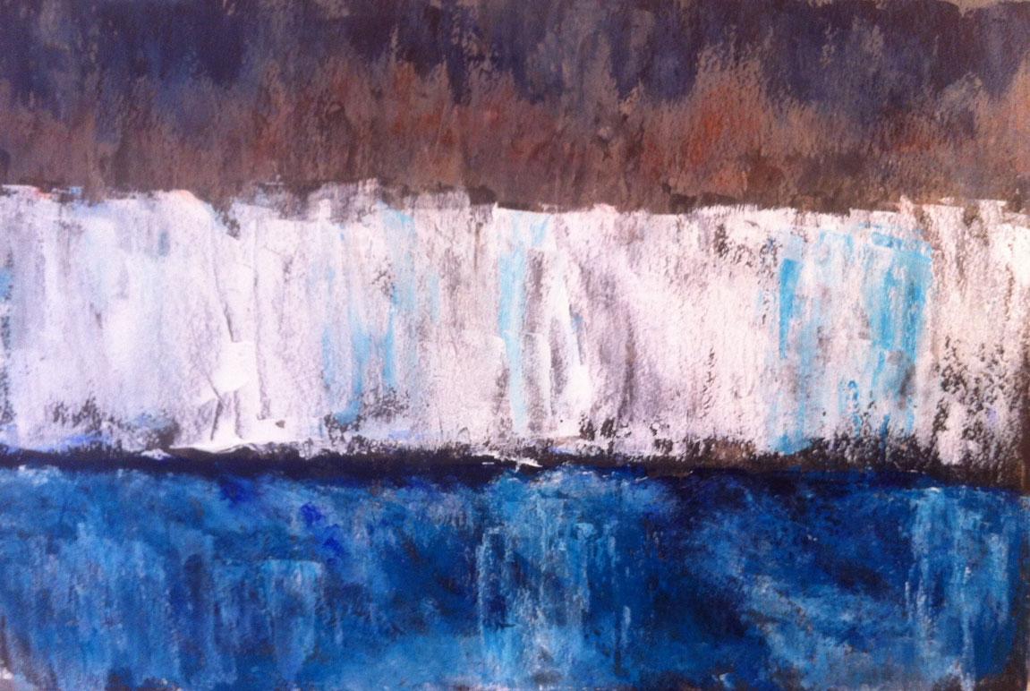 N° 1195 - Iceberg - Acrylique sur papier - 37 x 55 cm - 24 février 2014