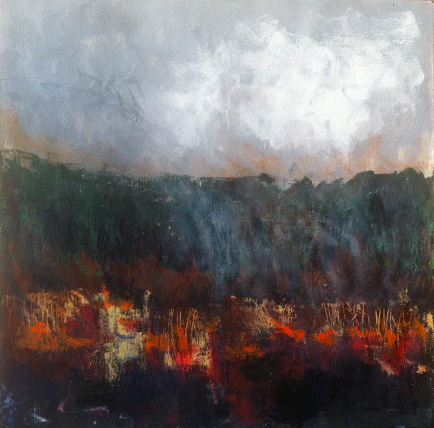 N° 1474 - Brûlis - Acrylique sur toile - Acrylique sur toile - 100 x 100 cm - 11 juillet 2014