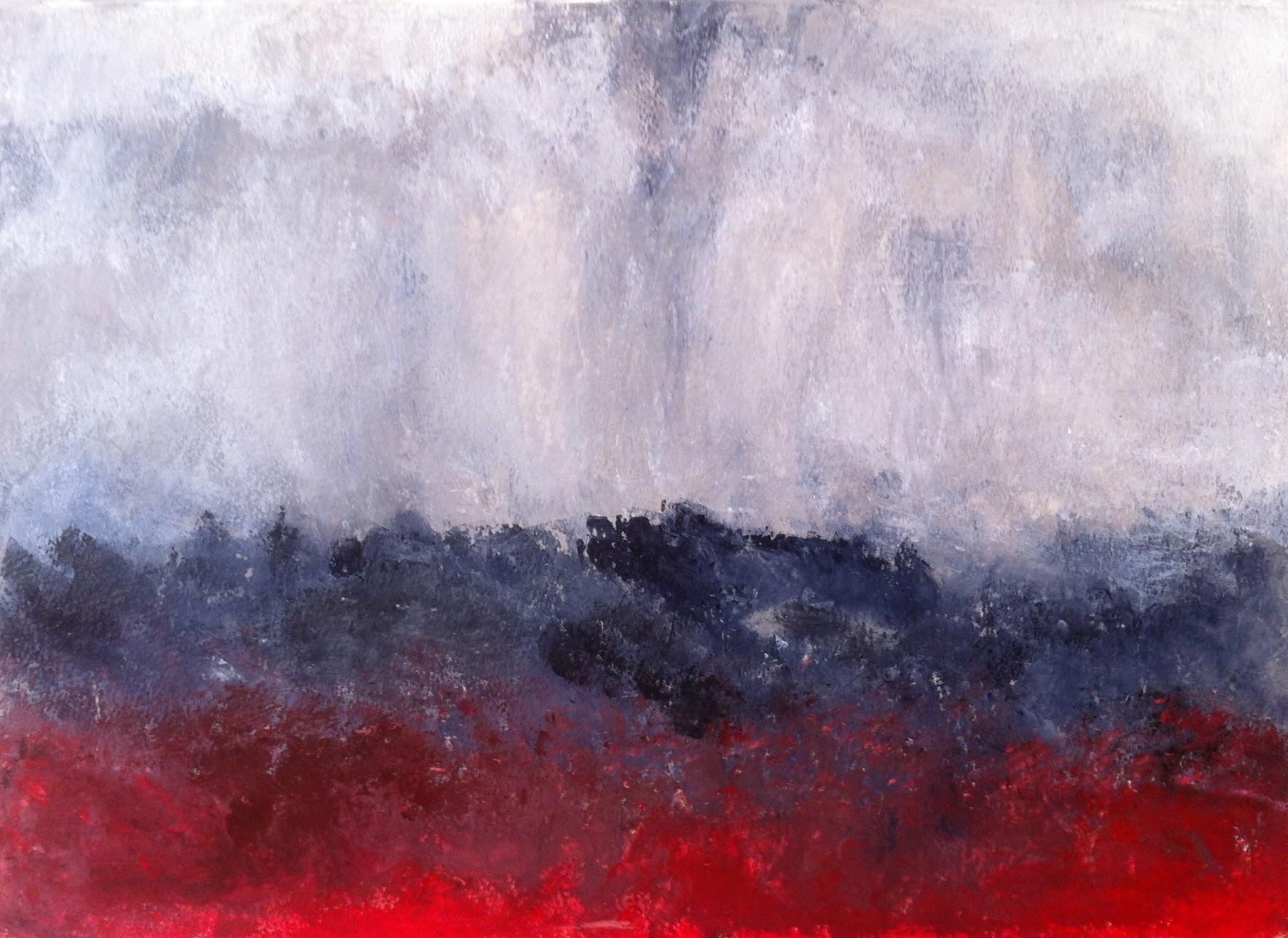 N° 745 - Terre en feu - Acrylique sur papier - 39 x 53,5 cm - 23 octobre 2013