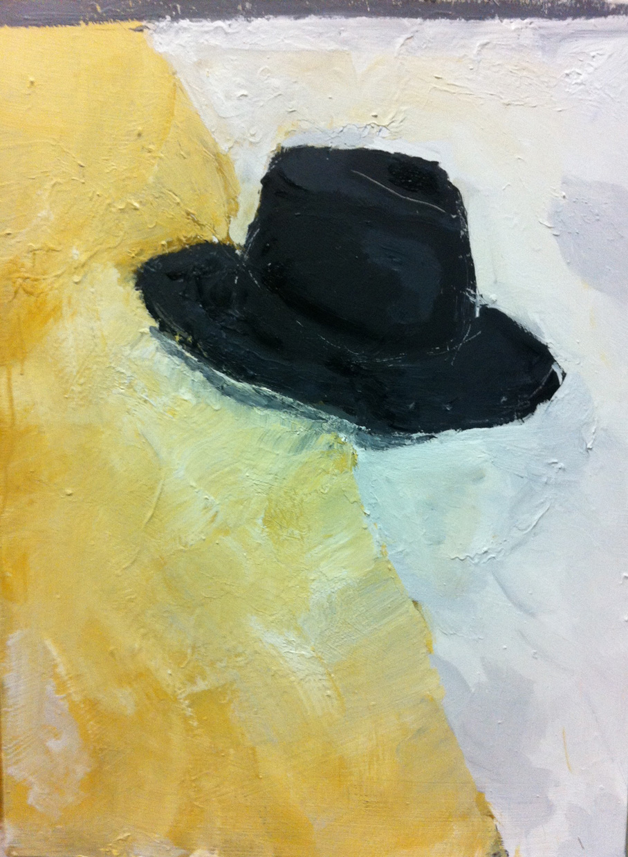 N°16 - Nature morte au chapeau noir - Acrylique sur toile - 81 x 60 cm - 23 décembre 2012