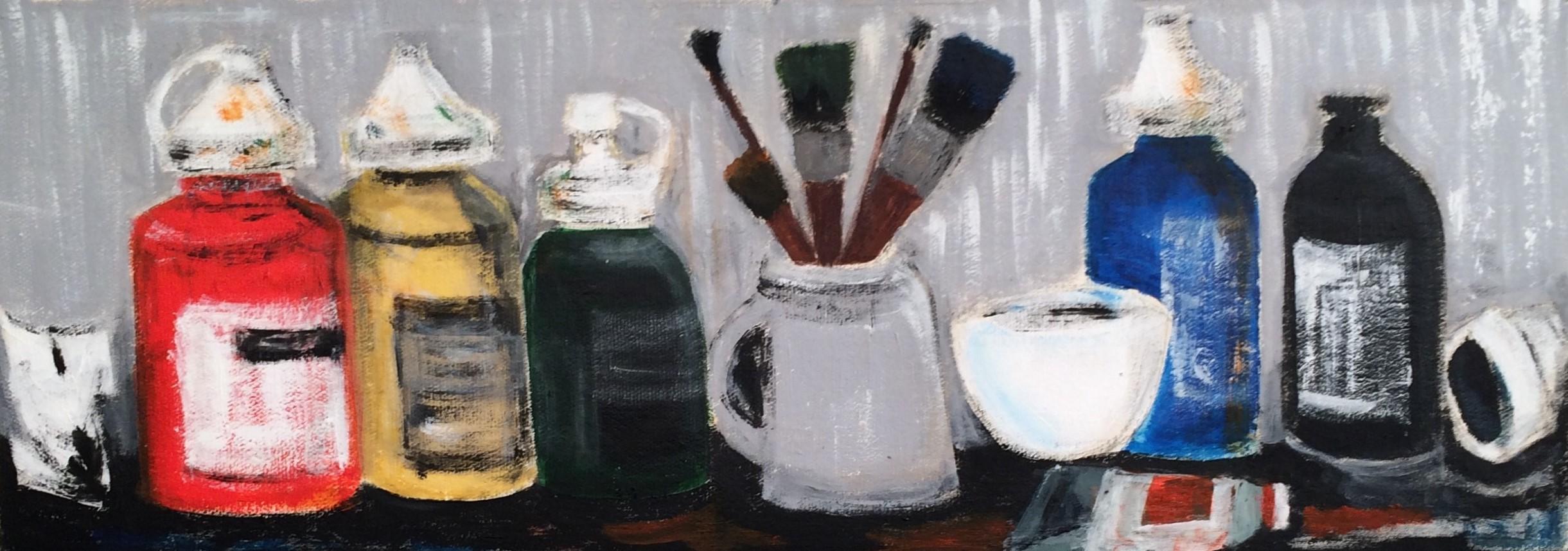 N°3112 - Pots de peinture - Acrylique sur toile - 22 x 63 cm - 30 septembre 2016