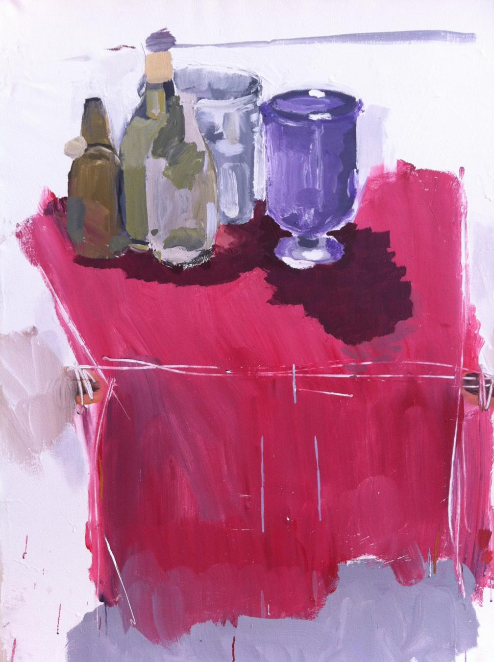 N°7 - Nature morte aux trois bouteilles - Acrylique sur toile - 116 x 89 cm - 15 novembre 2012