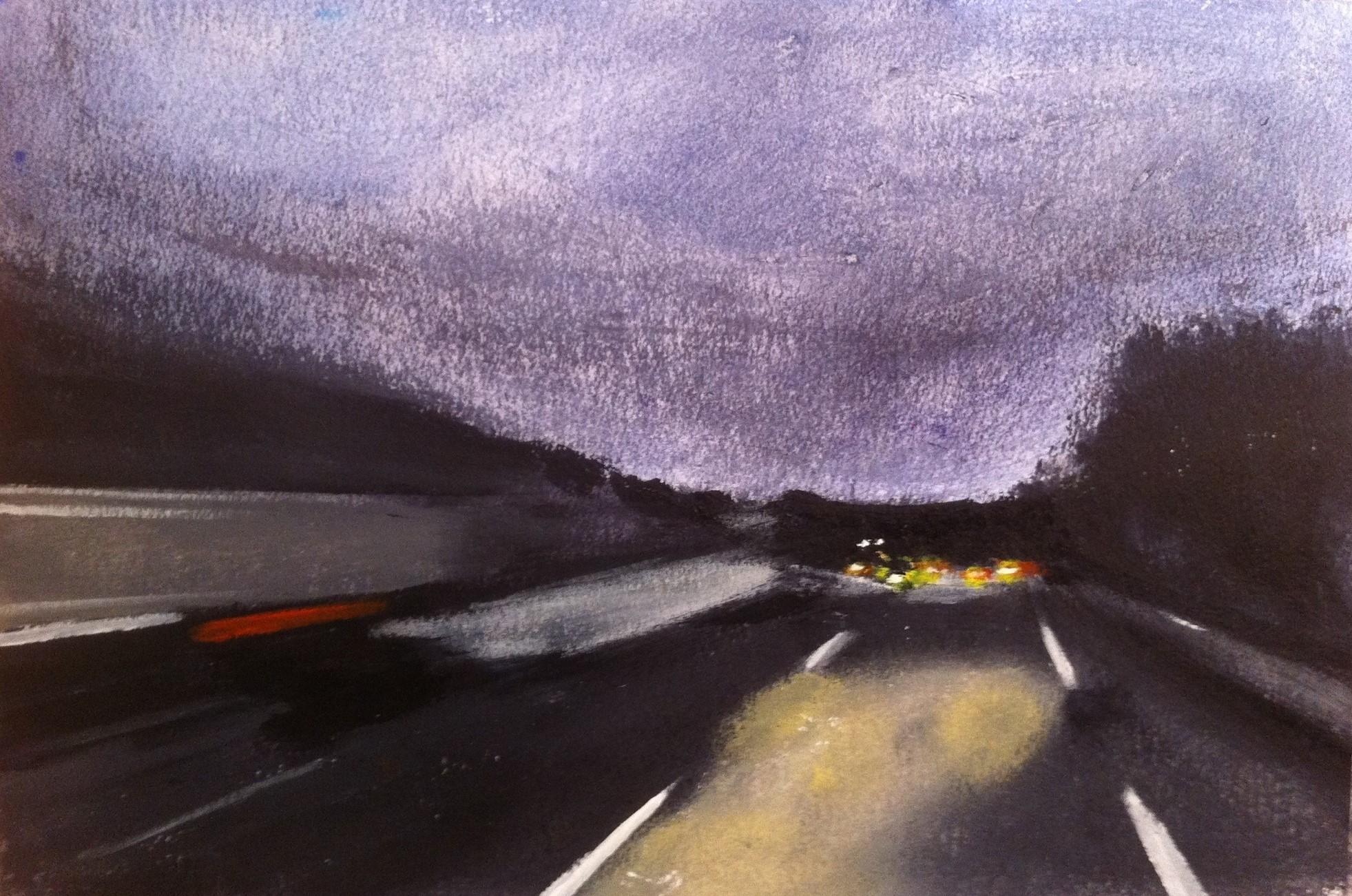 N°1006 - Route de nuit - Acrylique sur papier - 36,5 x 56 cm - 26 décembre 2013