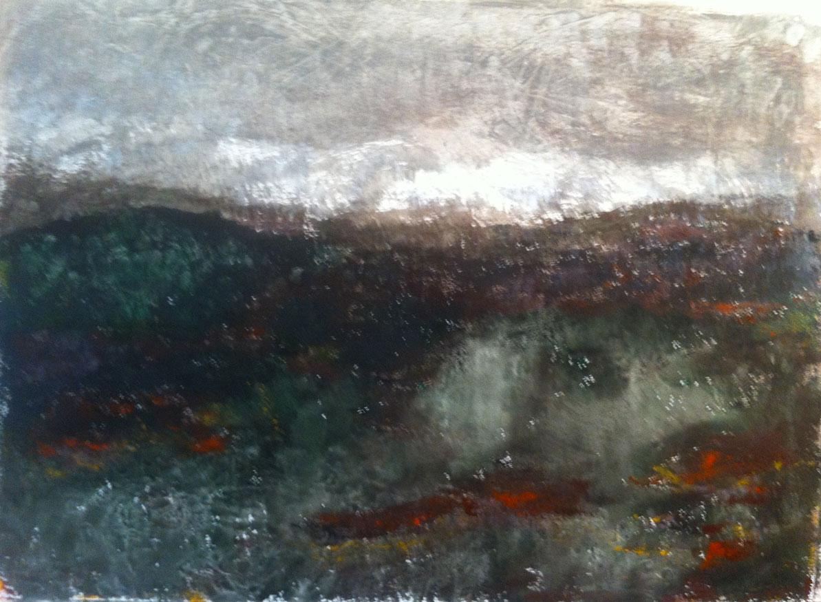 N°1303 - Colline au chien caché - Acrylique sur papier - 54 x 74 cm - 2 avril 2014