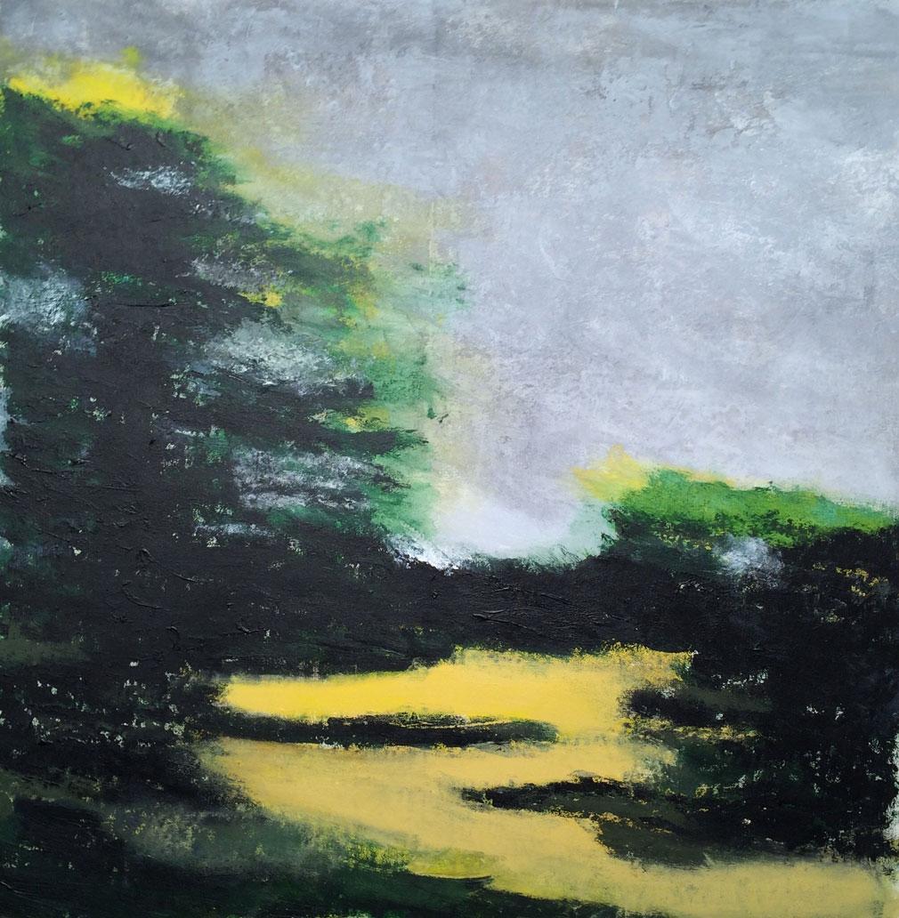 N°1942 - Frondaison - Acrylique sur toile - 95 x 95 cm - 4 août 2015