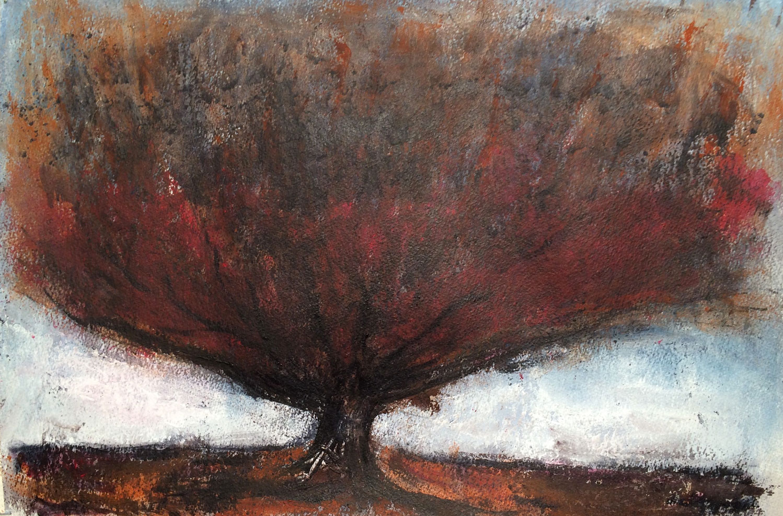 N°2131 - Auprès de mon arbre - Acrylique sur papier - 38 x 56 cm - 21 janvier 2016