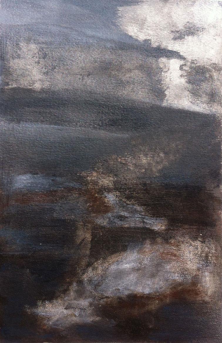 N° 232 - Là-haut - Acrylique sur papier - 52 x 33 cm - 20 février 2013