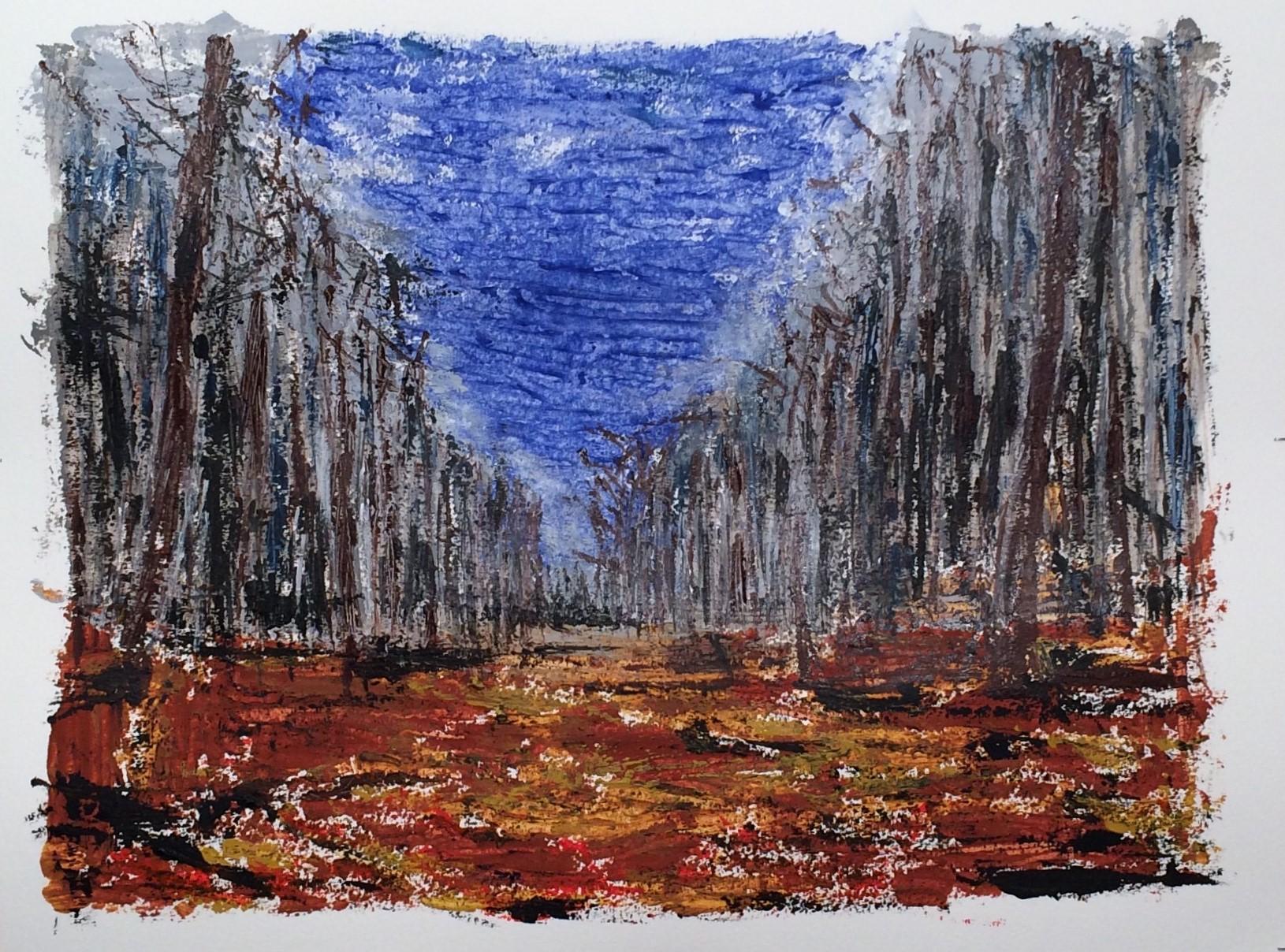 N°2392 - Forêt - Acrylique et pigments sur papier - 50 x 65 cm - 25 avril 2016