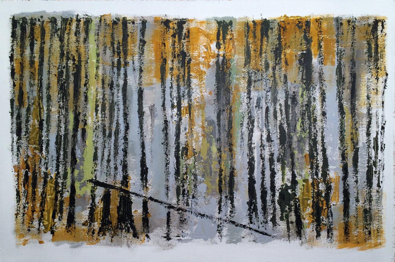 N°2446 - Forêt / L'hiver - Acrylique et pigments sur carton - 80 x 120 cm - 4 mai 2016