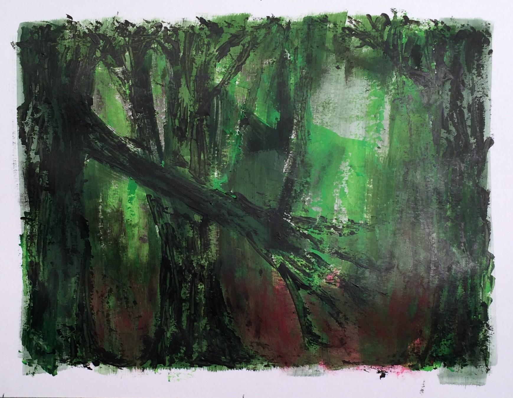 N°3292 - Forêt maléfique - Acrylique sur papier - 50 x 65 cm - 2 mai 2017