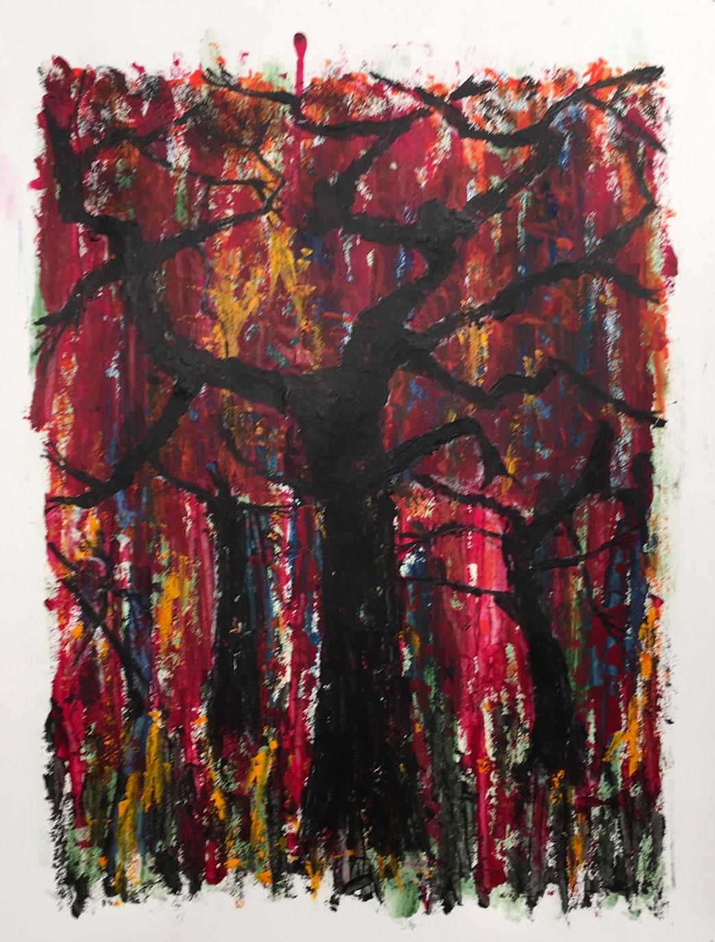 N°3364 - Forêt maléfique - Acrylique et pigments sur papier - 65 x 50 cm - 30 juin 2017