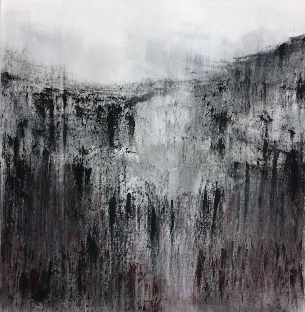 N° 4075 - Forêt noire - Acrylique et pigments sur toile - 100 x 100 cm - 26 janvier 2018
