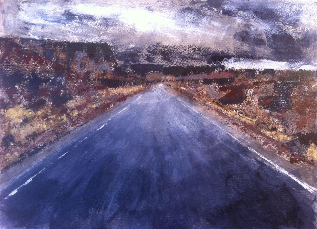 N°610 - Go west - Acrylique sur papier - 65 x 76 cm - 4 septembre 2013