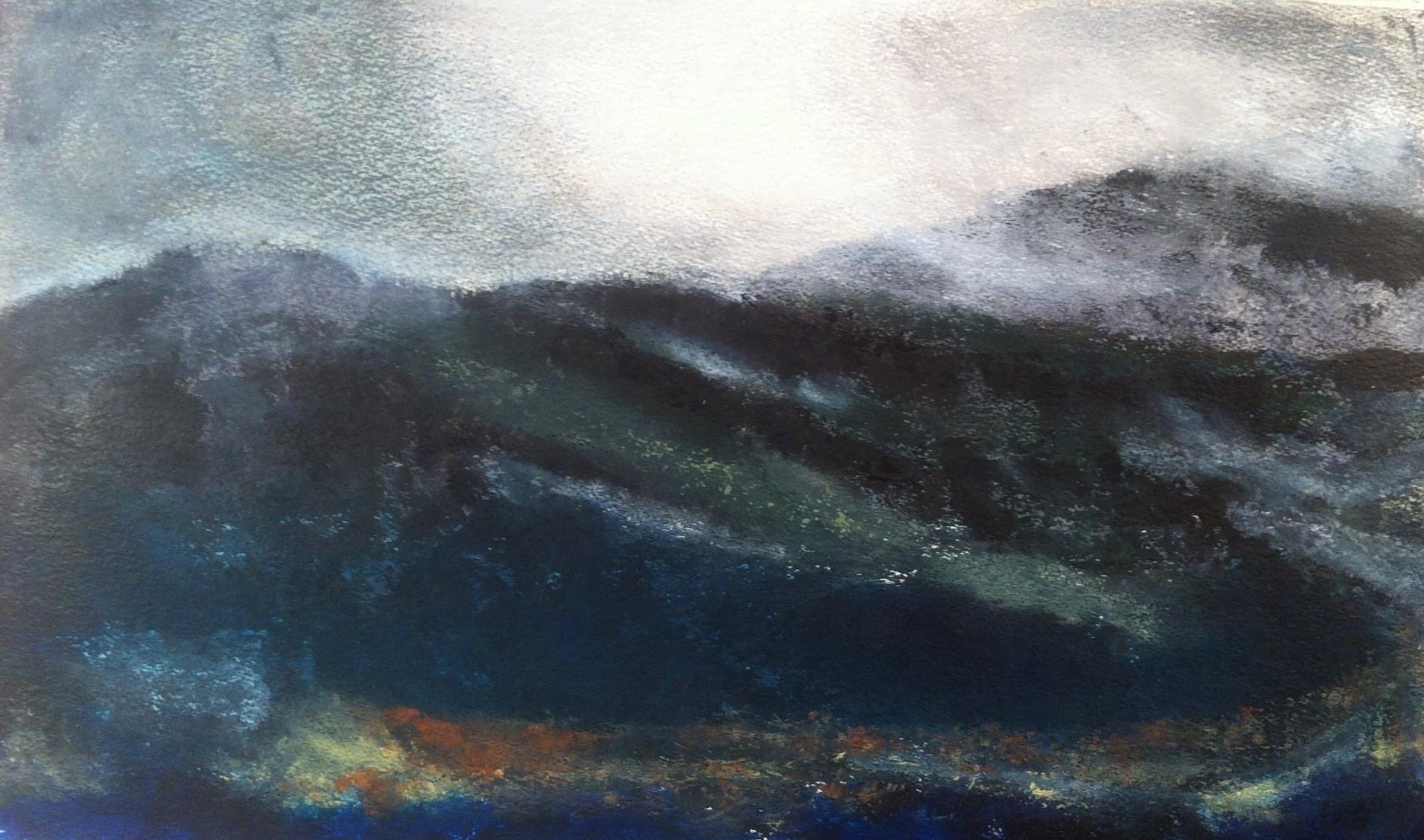 N°754 - Mer ou montagne - Acrylique sur papier - 36 x 59,5 cm - 25 octobre 2013