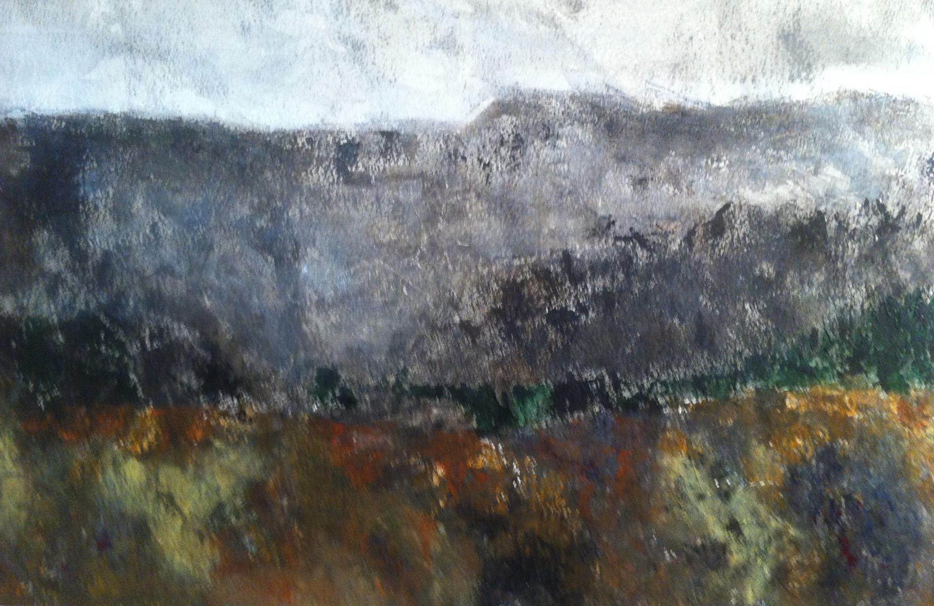 N°952 - Automne dans l'arrière pays - Acrylique et pigments sur papier - 38 x 56 cm - 19 décembre 2013