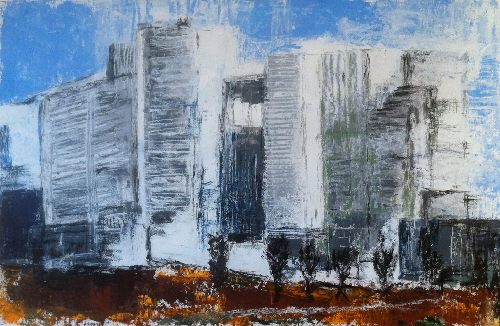 N°1609 - Immeubles - Acrylique sur papier - 65 x 100 cm - 9 octobre 2014