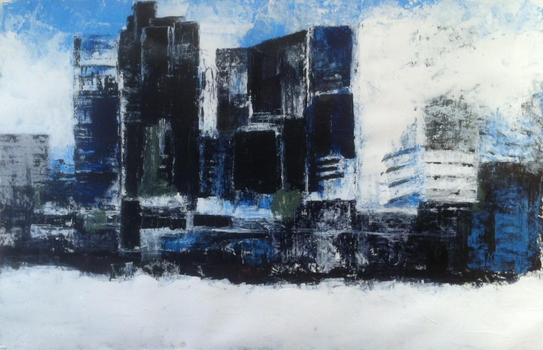 N°1618 - Buildings - Acrylique sur papier - 65 x 100 cm - 13 octobre 2014