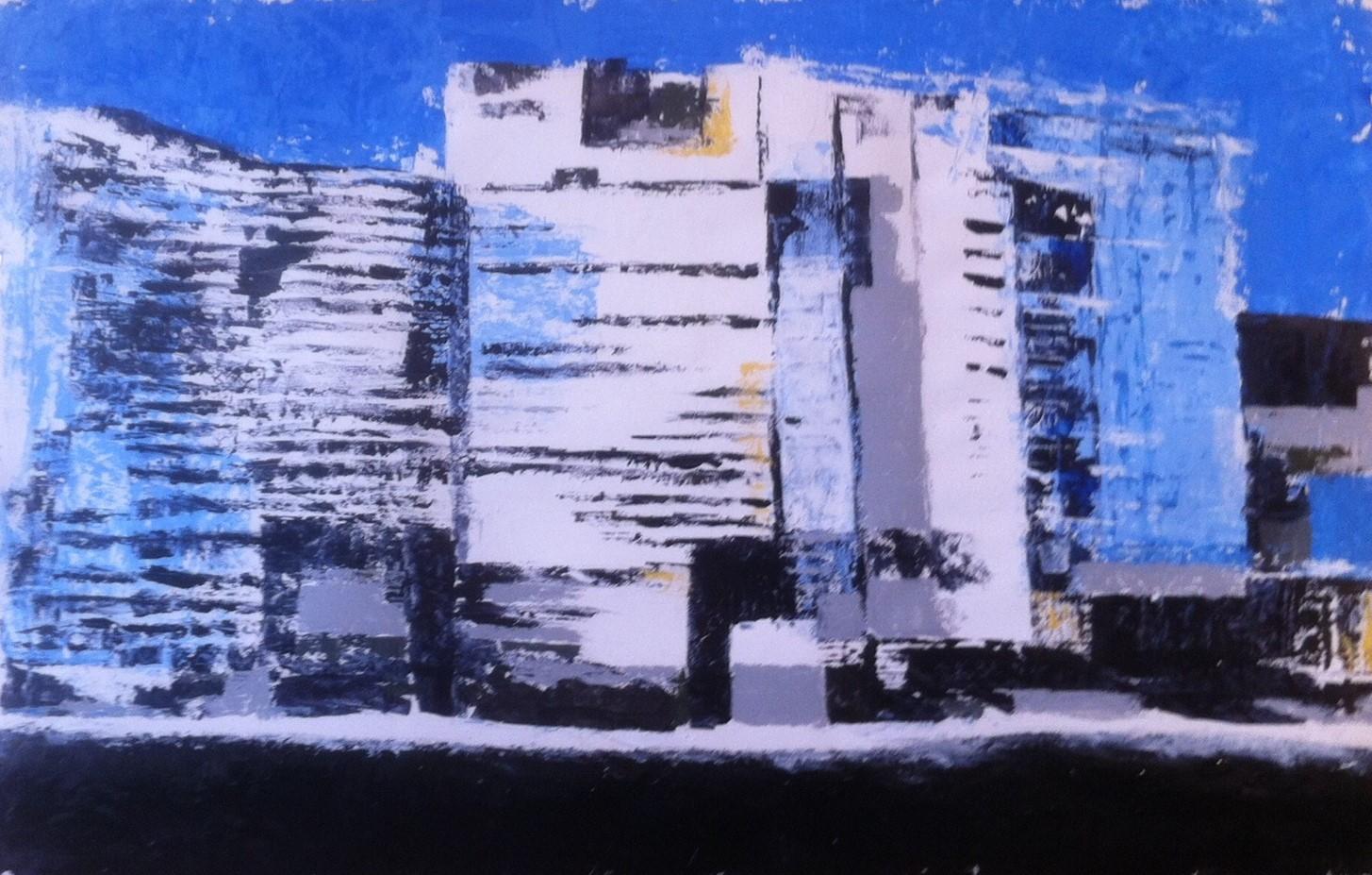 N°1627 - Quartier neuf - Acrylique sur papier - 65 x 100 cm - 16 octobre 2014