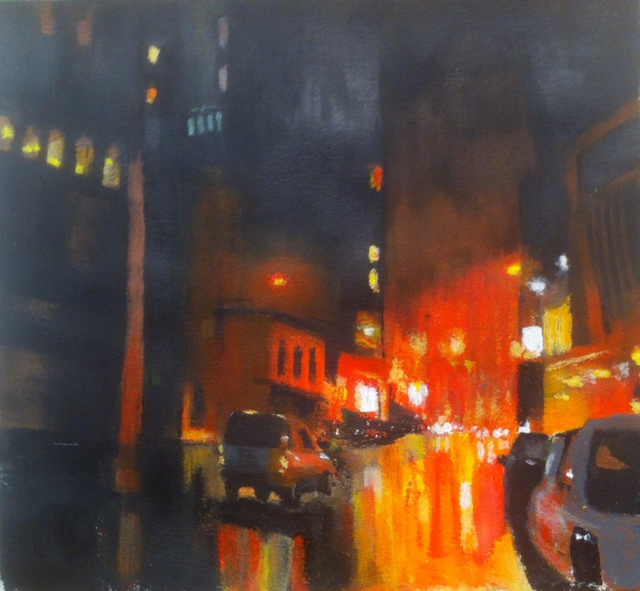 N°1753 - Ville rouge - Acrylique sur papier - 56 x 60 cm - 16 janvier 2015