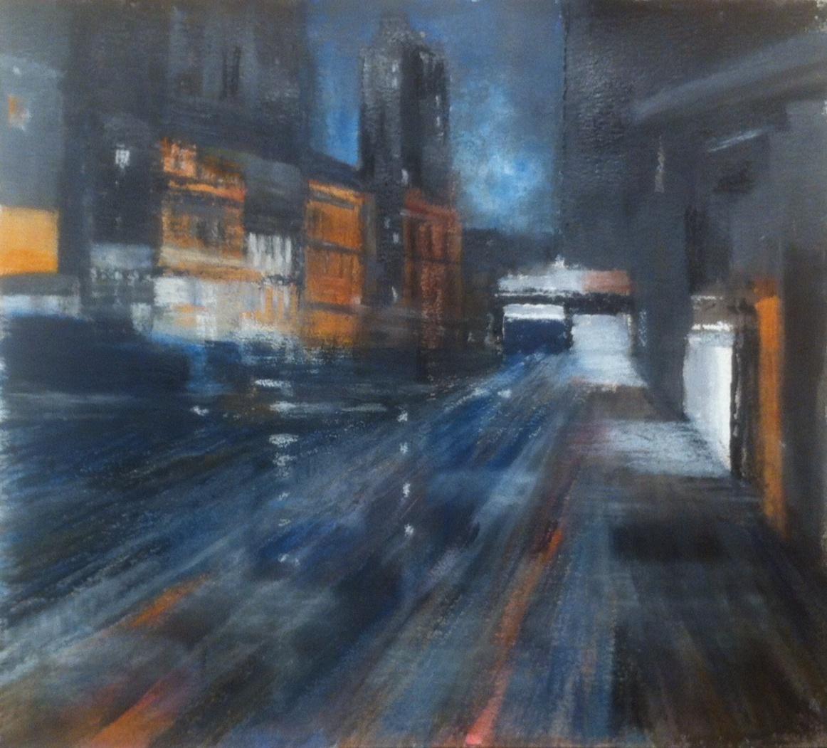 N°1762 - Town - Acrylique et pastel sur papier - 56 x 60 cm - 24 janvier 2015