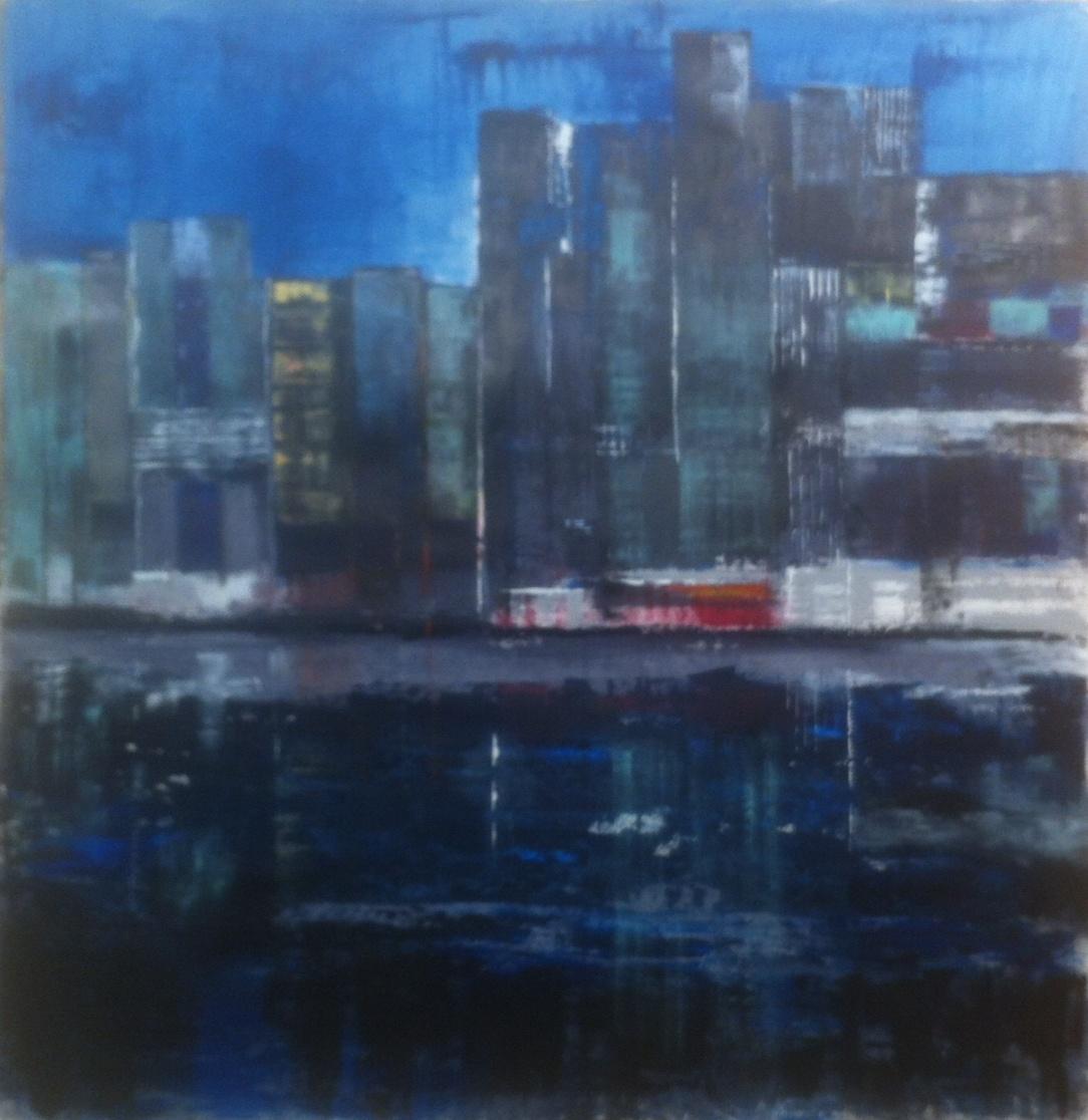 N°1852 - Ville noire - Acrylique sur papier - 125 x 130 cm - 18 avril 2015
