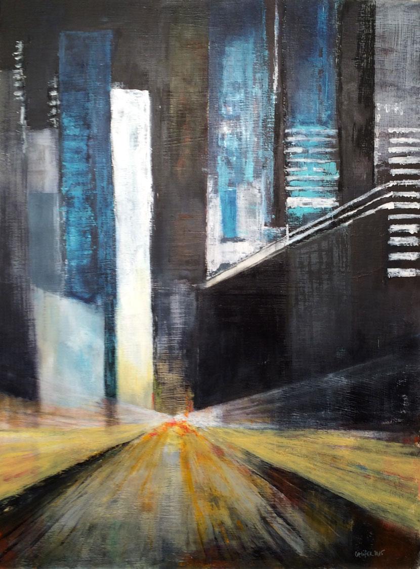 N°2032 - Main street - Acrylique sur toile - 130 x 98 cm - 17 novembre 2015