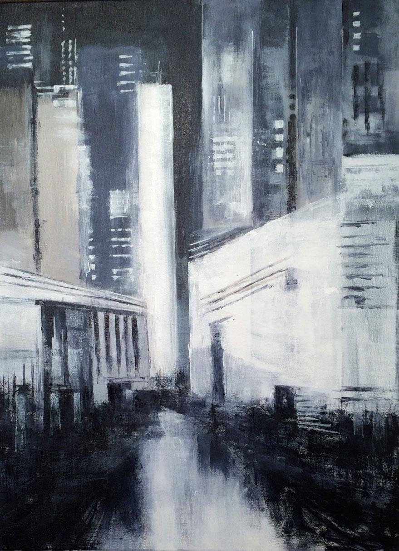 N°2077 - C'est beau une ville la nuit - Acrylique sur toile - 81 x 60 cm - 26 novembre 2015