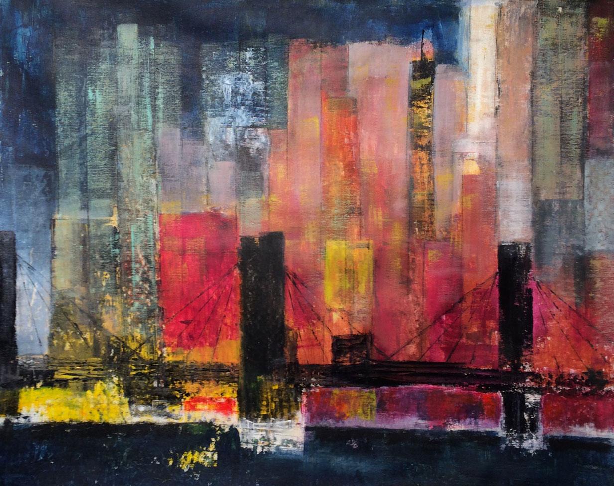 N°2167 - Skyline at sunset - Acrylique sur toile - 73 x 92 cm - 26 février 2016