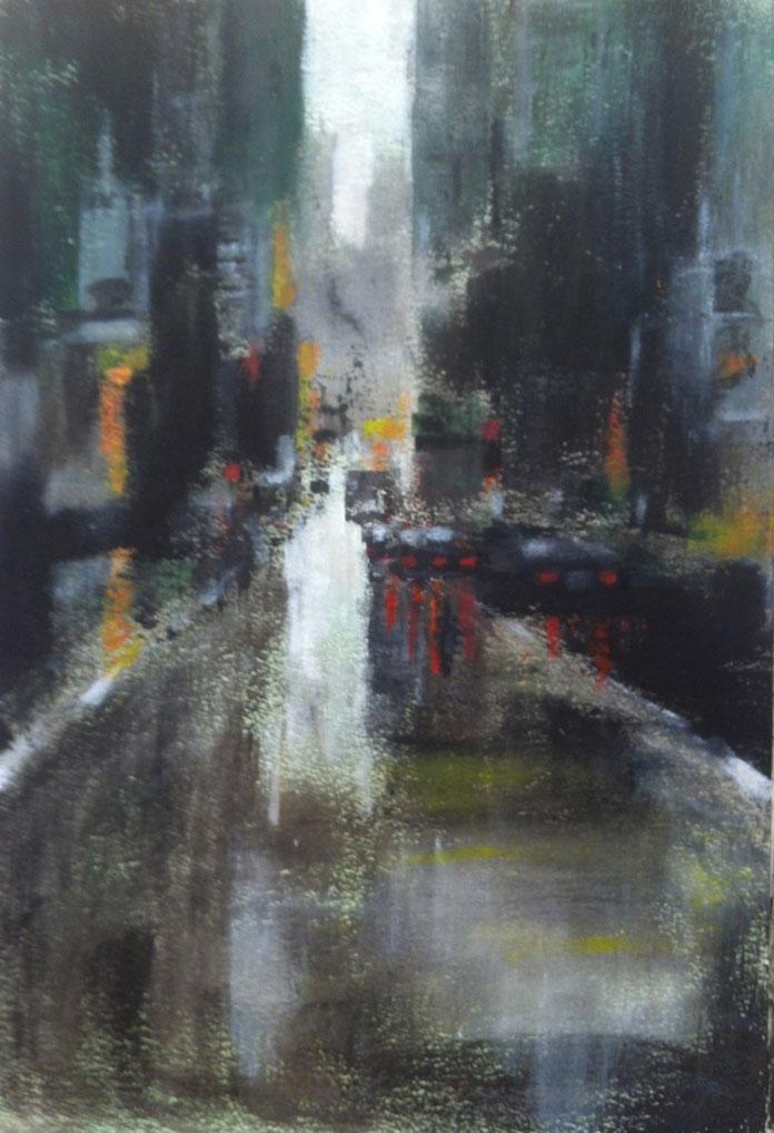 N°835 - It's raining downtown - Acrylique sur papier - 65 x 38 cm - 23 novembre 2013